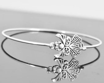 Angel Bangle, Sterling Silver Bangle, Angel Bracelet, Stackable Bangle, Charm Bangle, Bridesmaid Bangle, Bridesmaid jewelry, Bridal Bracelet