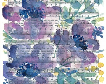 """Watercolor Hymn Print """"Great is thy Faithfulness,""""  Anemone flower, watercolor florals, abstract floral painting"""