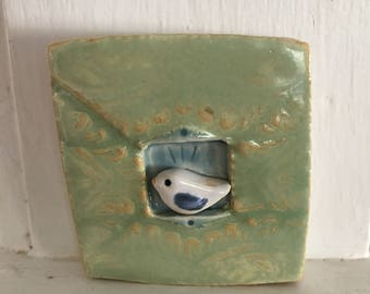 Sweet Little Ceramic Wall Tile With Bird in Window