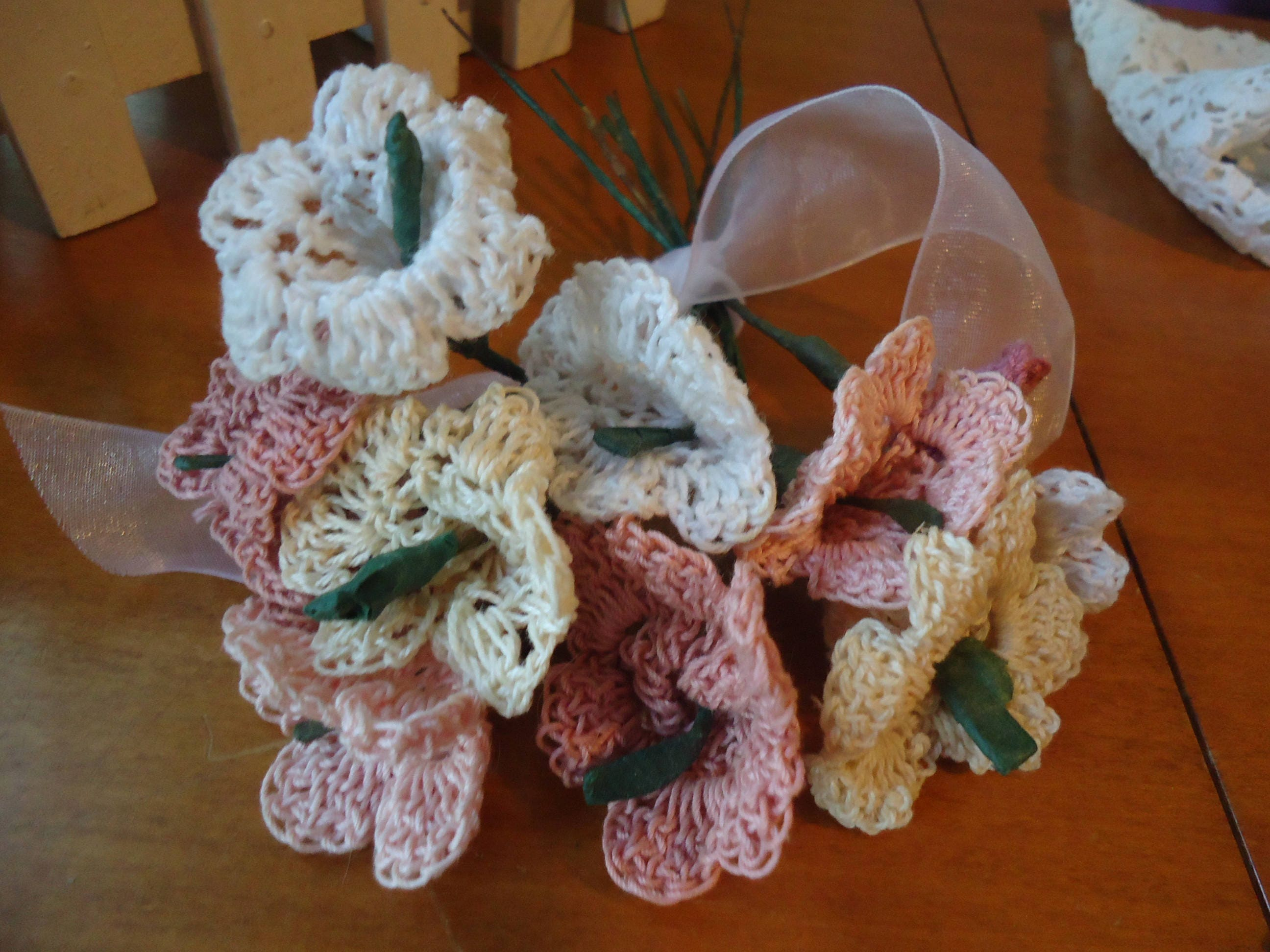 Vintage Crochet Small Flowers Stems Wired Handmade Bouquet Of