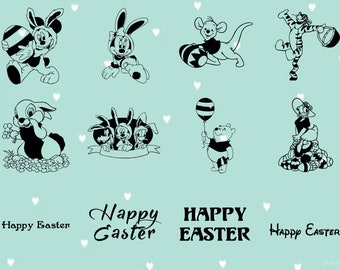 24 Easter Cartoon Themed/ Cut files.  Includes .PNG and .SVG