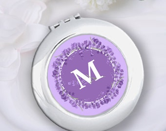 Personalized Lavender Compact Mirror & Velvet Pouch Bridesmaid Gift, Wedding Bridal Party Gift, Bachelorette Gift, Monogram Pocket Mirror