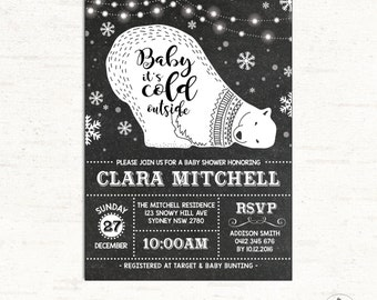 Baby Its Cold Outside Invitation. Winter Baby Shower Invite. Polar Bear. Modern Retro Black White Silver Snowflake. Gender Neutral. WINT1