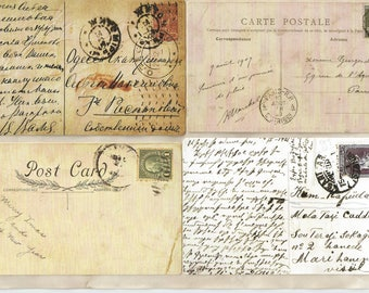 Digital vintage journal, bullet journal, ephemera, postcard, postcard, notebook