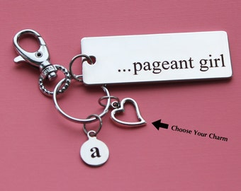 Personalized Pageant Key Chain Stainless Steel Customized with Your Charm & Initial -K328