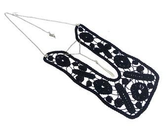 Black Statement Lace Necklace, Black, Cotton Lace Collar, Crochet necklace, Gothic Woman Accessory, Woman Blouse Applique, OOAK