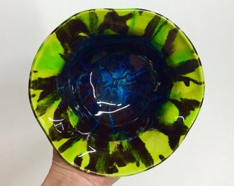 Bright green and black bowl with rutile splash