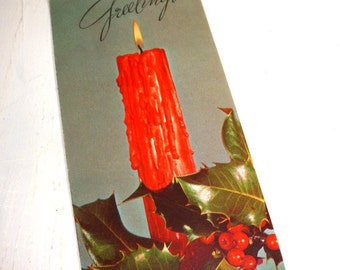 Vintage Holiday Season's Greeting Christmas Card, Mid Century, Red Candle, Holly, Created by Paramount  (647-15)