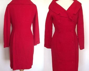 Seltene Patrick Kelly, Paris - Mantel-Kleid - rot Leinen Doppel Zweireiher mit Schalkragen - Größe 8