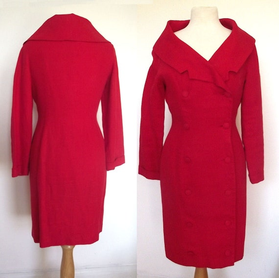 Rare Patrick Kelly, Paris - Coat Dress - Red Linen Double Breasted with Shawl Collar - Size 8
