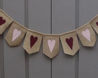 Valentines Banner, Valentines Day Decor, Heart Banner, Burlap Valentines, Valentine Garland, Valentines Banner Bunting, Rustic Valentine