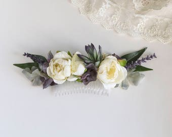 Lavender and Ivory Comb. Flower Comb. Silk Flowers. Succulent Comb. Wedding Hair Piece.