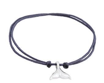 WHALE handmade sterling silver & string bracelet
