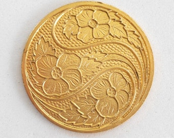 1 raw brass floral medallion, pendant, charm, brass stamping, 31mm, made in the USA C6601