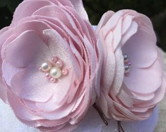 Bridesmaid Hair Flower, Flower Bobby Pins, Blush Hair Accessory, Blush Flower Pin, Set of two Bridal Hair Flower