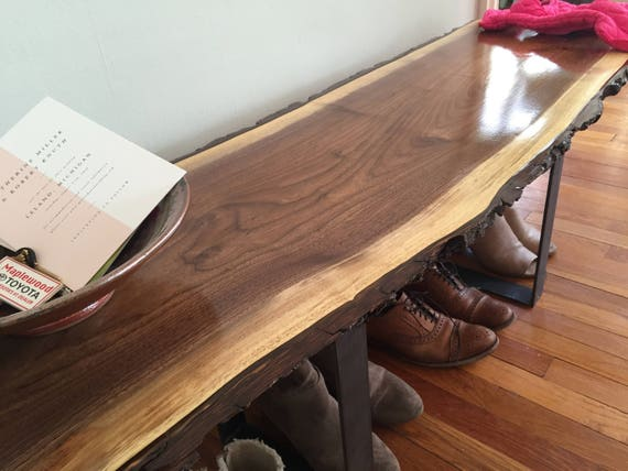 Entryway Bench Live Edge Slab Coffee Table Console Table Steel
