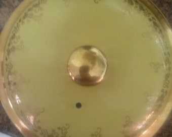 Hall Teapot Lid Yellow with Gold Trim Gold Vine  Replacement Parts