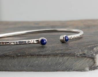 Open Cuff Bracelet, Sterling Silver Double Stone Bracelet, Lapis Lazuli Stone, Bridesmaid cuff, Wedding Jewelry, Statement Cuff Bracelet