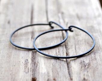 Medium Oxidised Sterling Silver Hoop Earrings. Everyday Wear. Black. Charcoal. Grey. Gray. Oxidised. Eco.