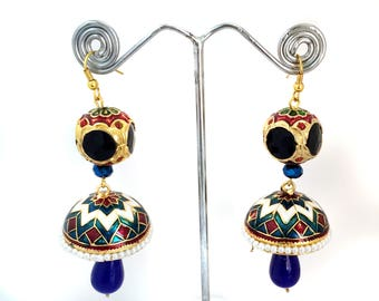 Enamel Jhumka Earrings with Pearls, Onyx Jewelry Ethnic Jewelry,Indian Tribal Jhumkis,bell earrings,Boho Earrings by TANEESI