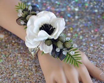 Wrist corsage in black and white on a gorgeous bracelet!
