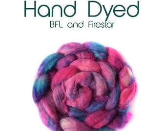 Hand dyed- BFL - Firestar - 100g/3.5oz - Pink - Blue - Purple