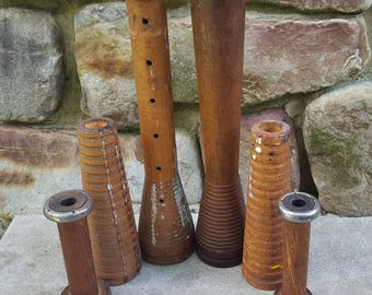 6 INDUSTRIAL WOOD BOBBINS, rustic commercial thread yarn textiles primitive spindles spools home decor candles candlesticks diy lighting