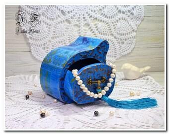 Blue wood box jewelry box decoupage box storage box keepsake box gift wedding box gift box for her gift  trinket box Christmas gift sister
