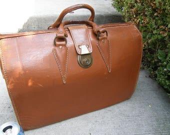 Vintage 1960s Briefcase Attache Case Doctor's Professor's Bag Brown Leather