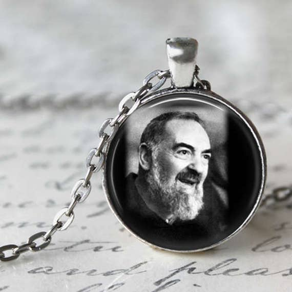 Saint Padre Pio Pendant - with an 18 or 24 inch chain - Catholic Pendant - Saint Pio