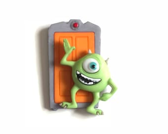 Mike Pin, Mike Badge, Mike Tie tack, Mike Brooch, Monsters Inc., Mike and Door Pin, Backpack Buddy,  Mike Hat Pin, Mike and Sully