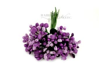 Light Purple Pip Berry Stems 1 inch - Pip Berries, Berry Stamen, Pip Berry Wreath, Flower Making, Flower Stamens, Artificial Berries, Pip