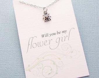 Flower Girl Gift | Ladybug Necklace, Flower Girl Proposal, Flower Girl Necklace, Bridesmaid Gift, Flower Girl Basket, Wedding | B01