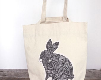 Eco Lunch Bag - Canvas Lunch Bag - Work Lunch Bag - Fabric Lunch Bag - School Lunch - Reusable Lunch Bag - Bunny Lunch Bag