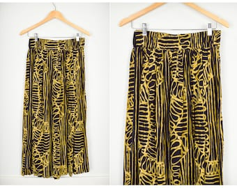 80s Midi Skirt, Vintage Clothing, 80s Clothing, Animal Print, Gold, African Skirt, 80s Skirt, Rayon, 80s Clothes, High Waisted Skirt, Gypsy