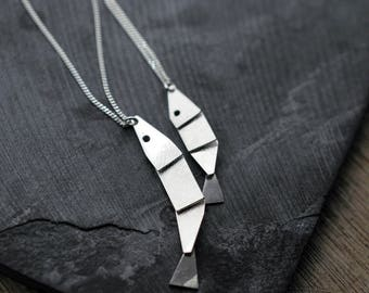 Small or Big Articulated Silver fish necklace