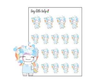 Planner Stickers Rainbow Unicorn Wash Hair