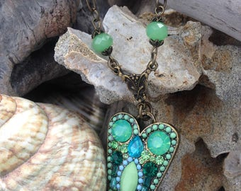 Vintage Green Heart Necklace - Art Nouveau Necklace - Gift for Sister -  Heart Necklace