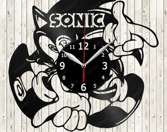Sonic Vinyl Record Wall Clock Handmade Art Decor Your Room Original Gift 1311