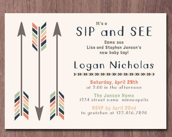 Sip and see invitation meet and greet baby invitations tribal arrows sip and see invitation boy meet and greet invitation baby shower invite baby sprinkle shower aztec navy blue orange green m4hsunfo