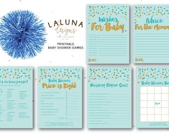 Baby Shower Games, Printable Baby Shower Games, Baby Shower Bingo, Wishes for Baby Printable, Advice for Mommy To Be Card, Blue and Gold