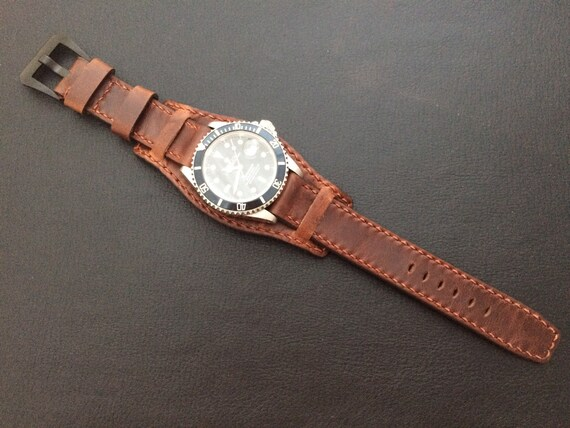 Real Leather cuff strap   Leather Cuff watch band   Cuff Band   Cuff Strap   Leather Cuff watch Strap for all luxury watch in 20mm/19mm lug
