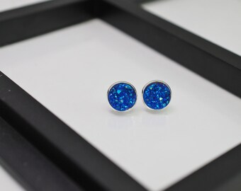 Blue Druzy Earrings, Blue Druzy Studs, Silver Stud Earrings, Druzy Earrings, Blue Earrings, Faux Druzy, Silver Druzy Studs, Gift Idea, Geode