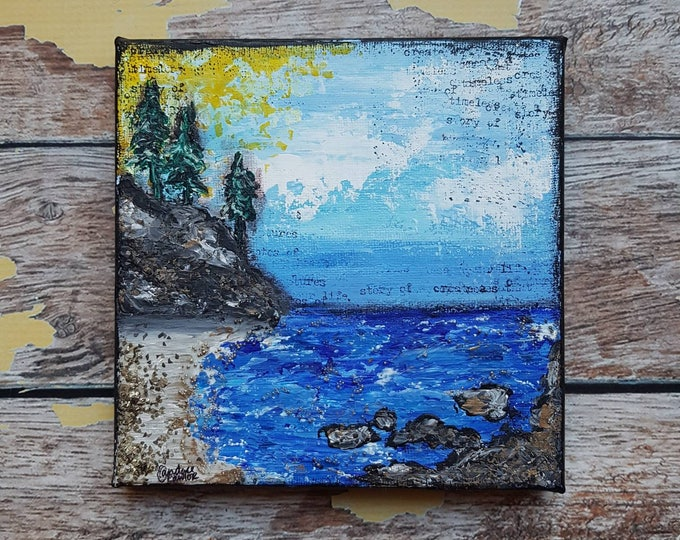 Seascape Canvas Art   Coastal Painting   Ocean Art   Beach Decor   6x6   Abstract Seascape No. 2   Saltons Cove Studio