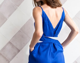 Jumpsuit Indulge Summer in Berry Blue
