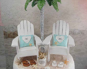 """Custom BEACH WEDDING CAKE Topper Request Your Colors! No Base Fits 6"""" Top! Handmade Mr&Mrs Adirondack Chairs/Personalized Shell Bucket/More!"""