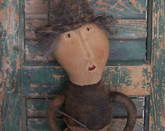 Primitive Doll, Primitive Witch Doll with Broom, Halloween Cloth Doll, Collectible Rag Doll, Handmade Halloween Doll - READY TO SHIP