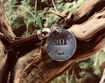 Mama Bear Hand Stamped Tassel Keychain   Hand Stamped Mother's Day Gift   For Mom   Baby Shower Gift   Birthday Gift for Mom