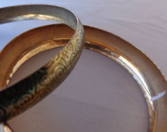 Two Vintage Bangle Bracelets - Gold Tone - probably from India