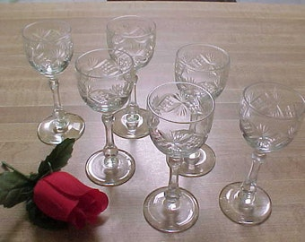 Vintage Bryce Cut Glass Cordials #866-2 Set of 6, Old Glassware Stems With Cut Criss Cross & Fan Design, Early Elegant Cut Crystal Barware